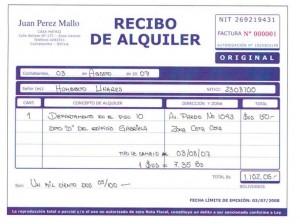 recibo de alquiler bolivia