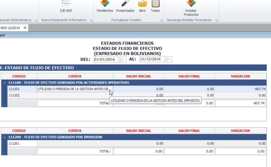Estado de Flujo de Efectivo en Excel