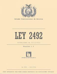 Codigo tributario, Ley 2492