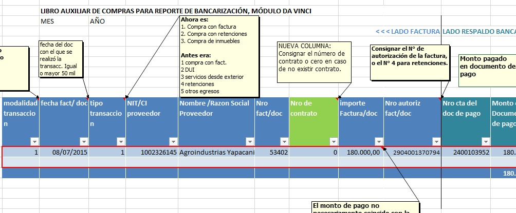 formato bancarizacion modificacinoes bolivia