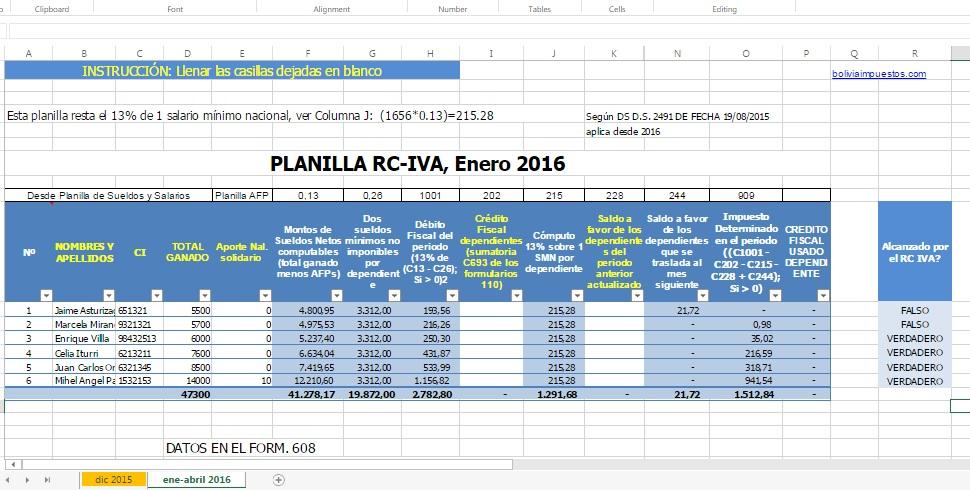 calculo rc iva 2016