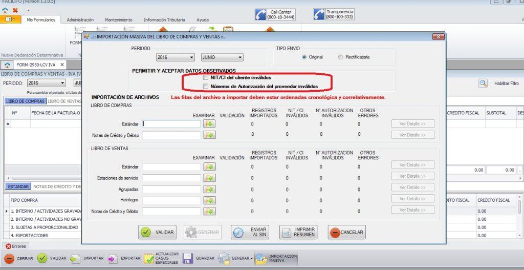 actualizar lcv facilito importacion masiva nits invalidos