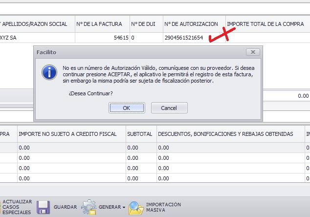 actualizar lcv facilito importacion masiva nits invalidos y nros de autorizacion